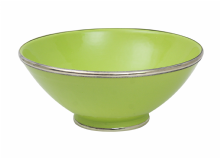Moroccan Ceramic Bowl Pistachio Green with Silver Edge Large Handmade 30 cm / 11.8""